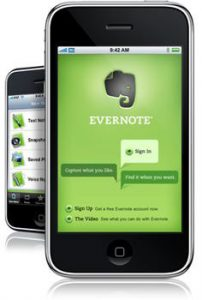 Evernote running on smartphone
